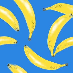 Bananas on dark blue