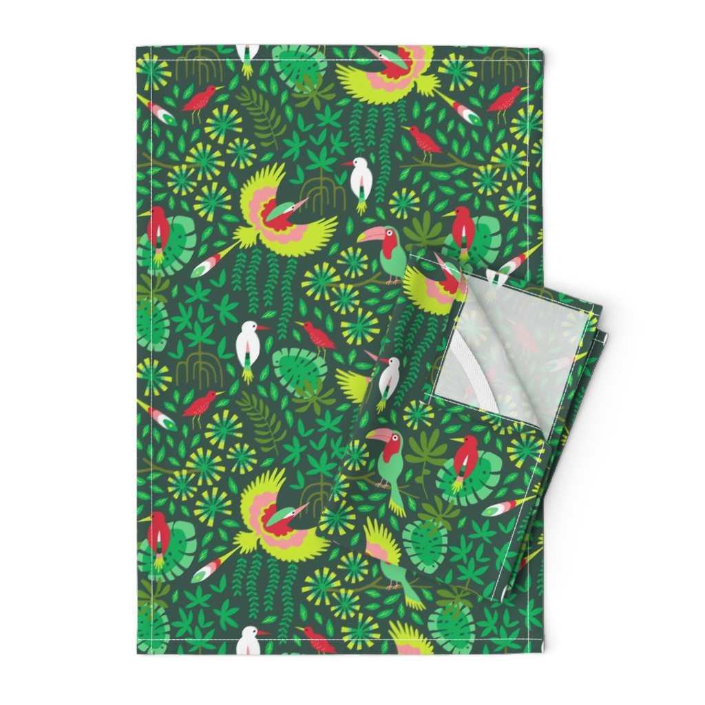 Orpington Tea Towels featuring Paradise bird in emerald forest by heleen_vd_thillart