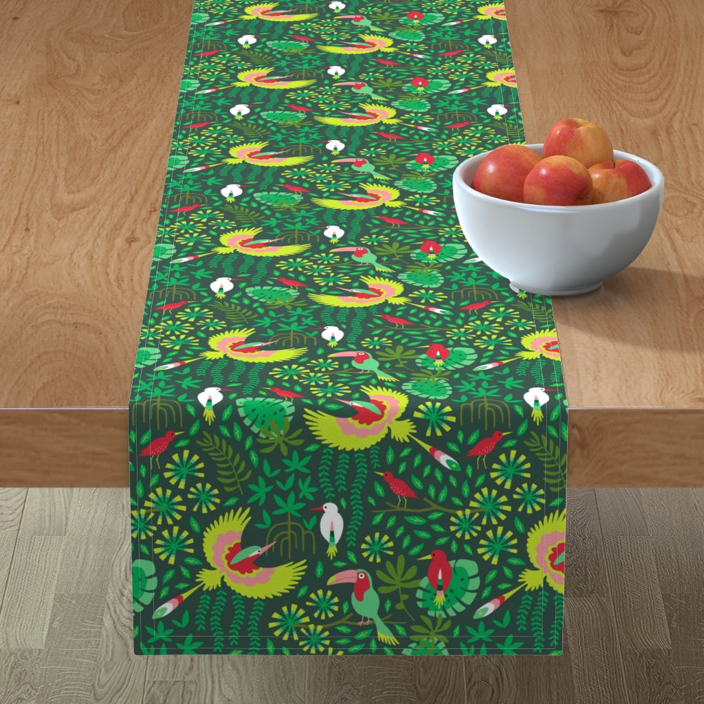 Minorca Table Runner featuring Paradise bird in emerald forest by heleen_vd_thillart