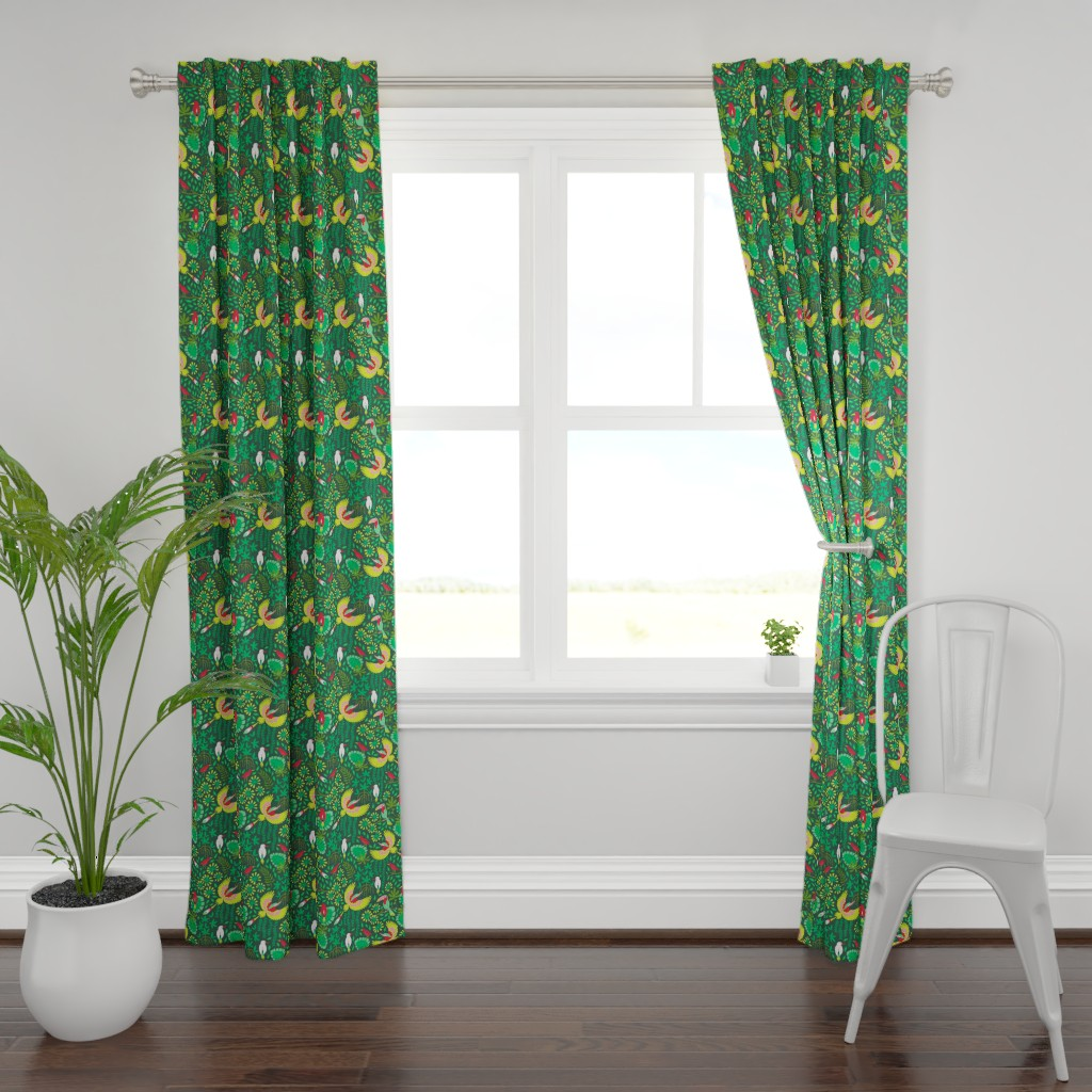 Plymouth Curtain Panel featuring Paradise bird in emerald forest by heleen_vd_thillart