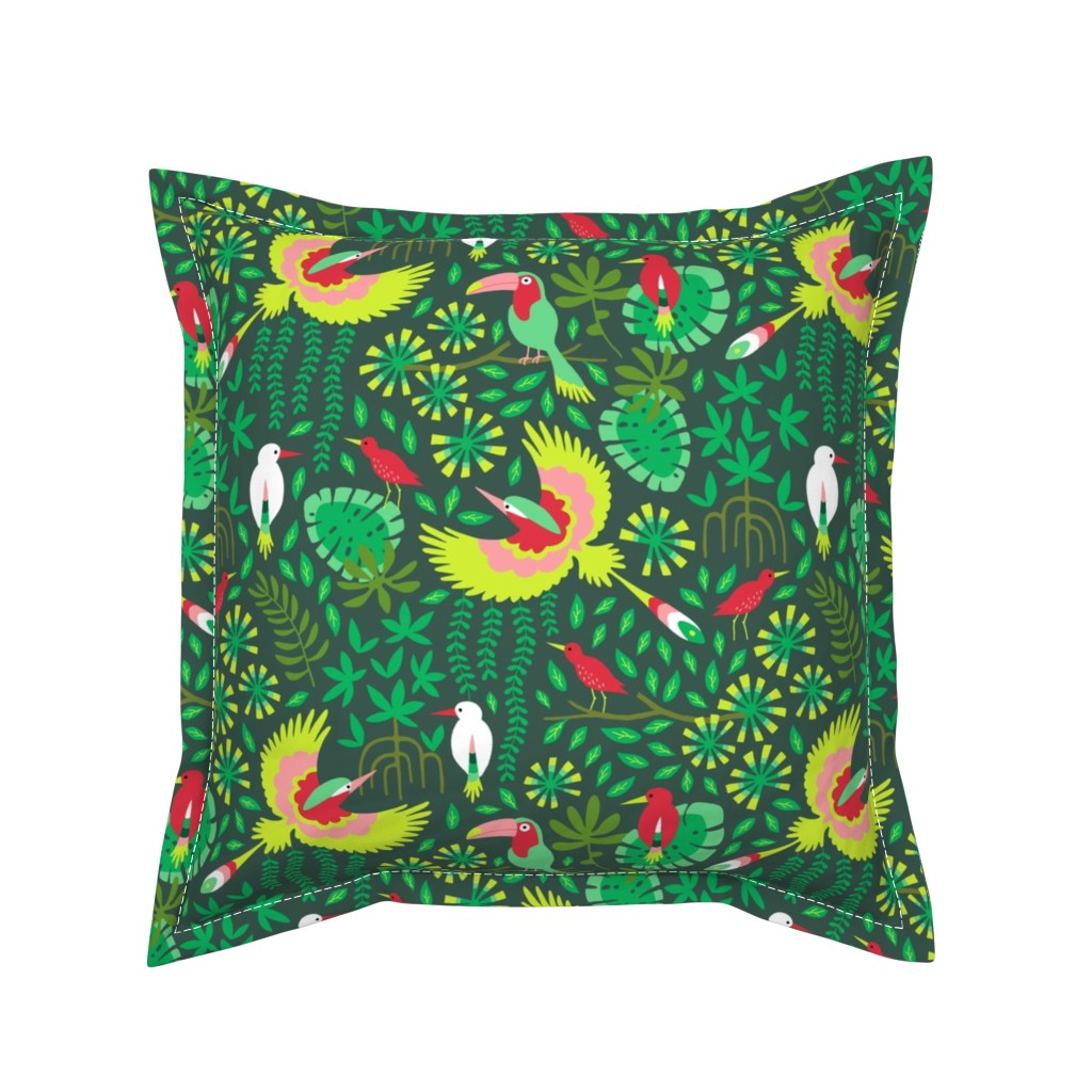 Serama Throw Pillow featuring Paradise bird in emerald forest by heleen_vd_thillart
