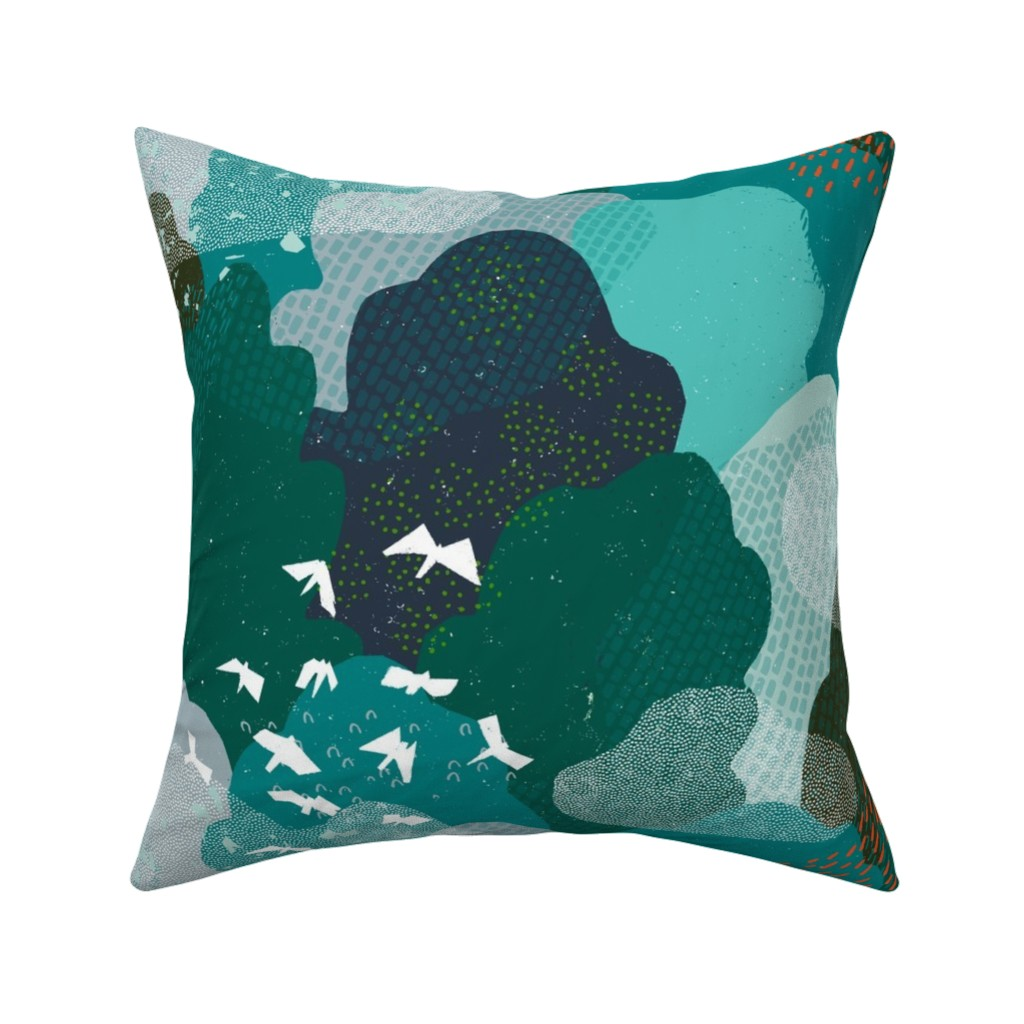 Catalan Throw Pillow featuring M+M Emerald Forest Bird's Eye View by Friztin by friztin