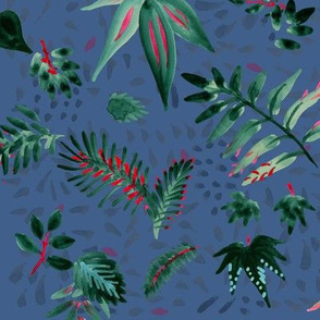 Inky Leaves Emerald