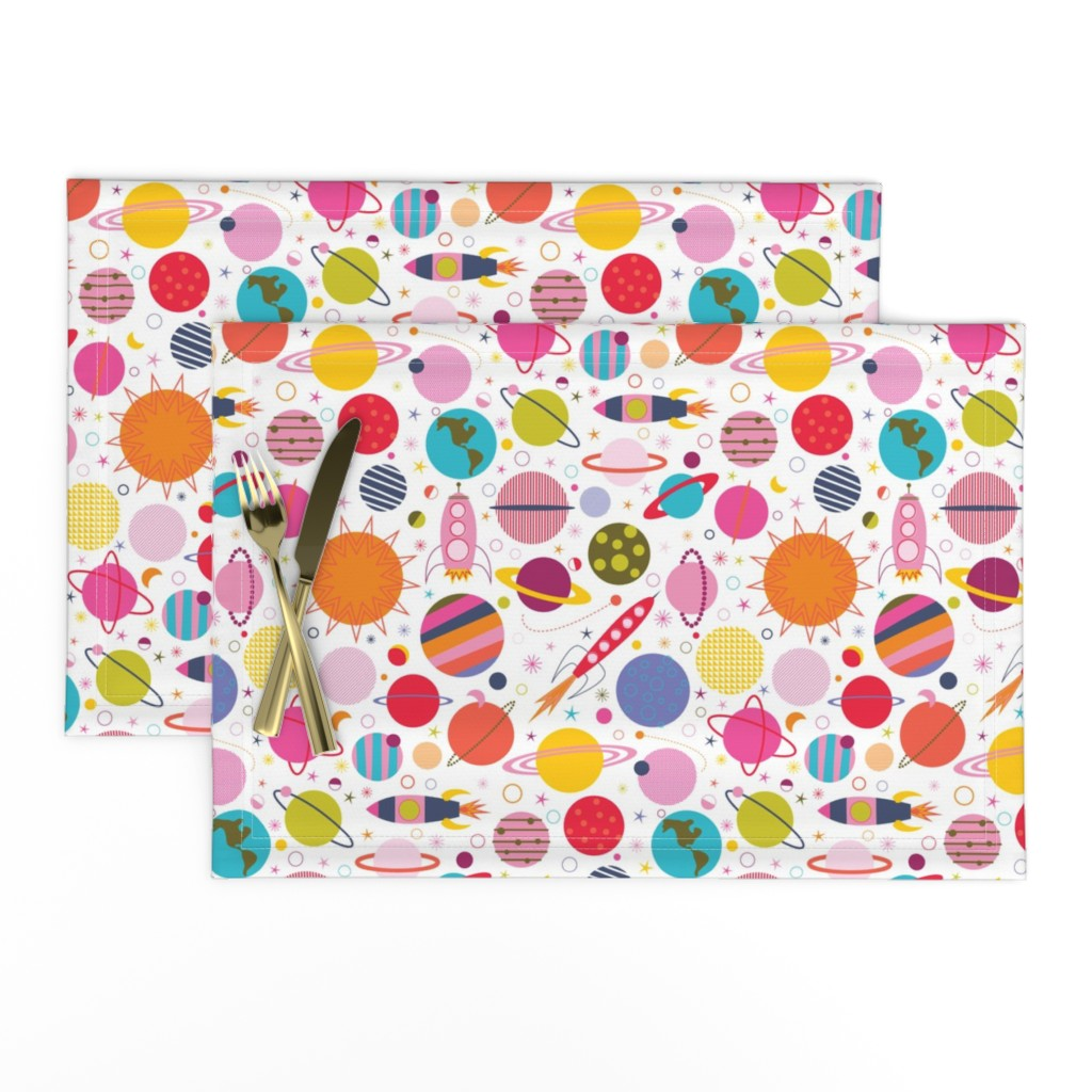 Lamona Cloth Placemats featuring Rocket Science - White by katerhees