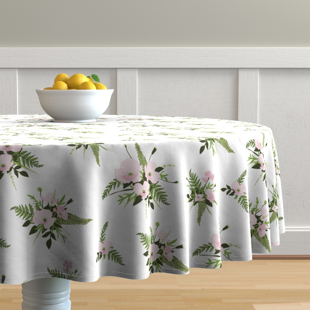Malay Round Tablecloth featuring Woodland Bouquet Cloud by melissa_colson