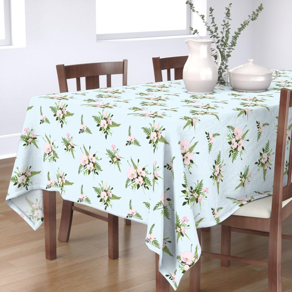 Bantam Rectangular Tablecloth featuring Woodland Bouquet Sky by melissa_colson