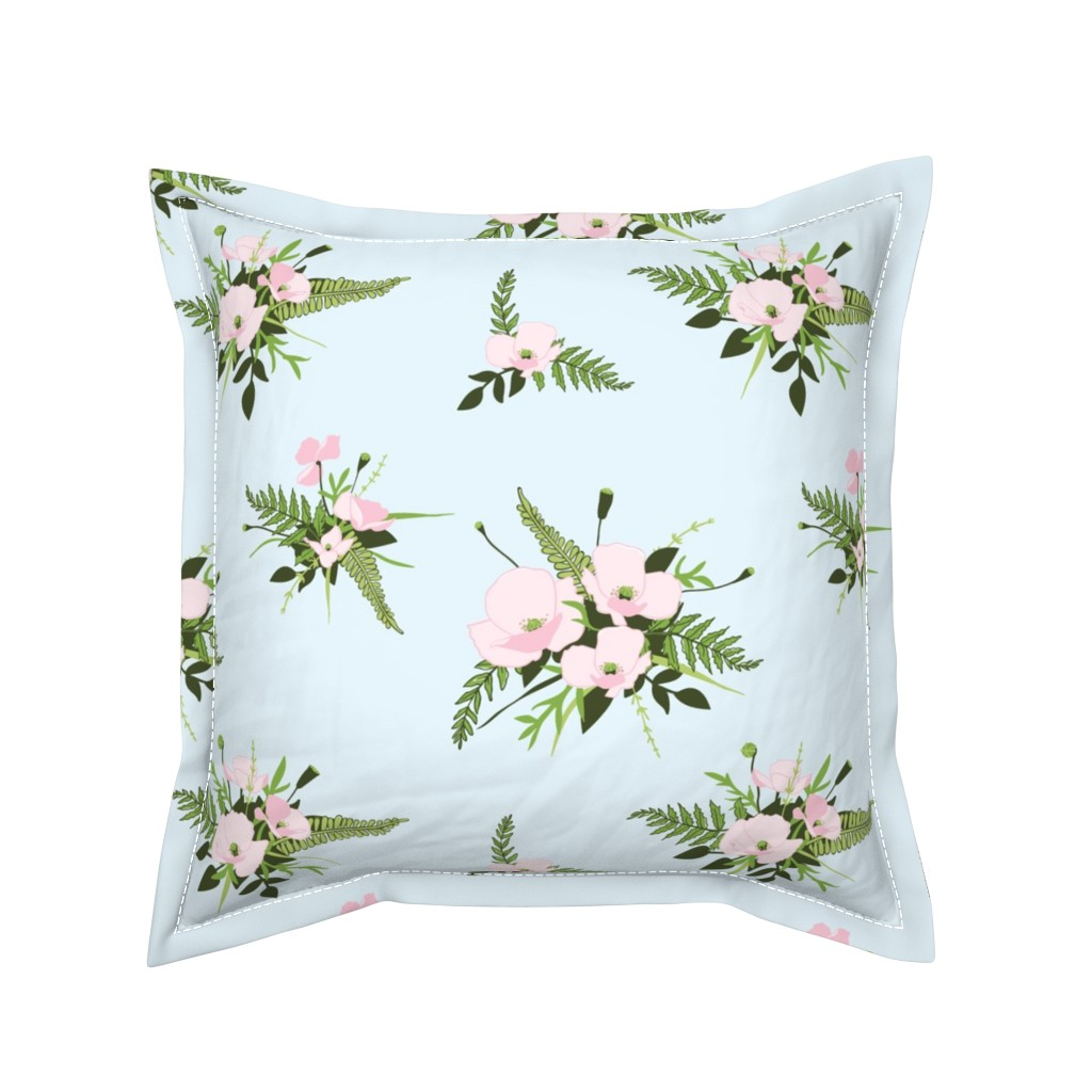 Serama Throw Pillow featuring Woodland Bouquet Sky by melissa_colson