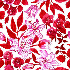 watercolor roses and lilies in red and pink colors