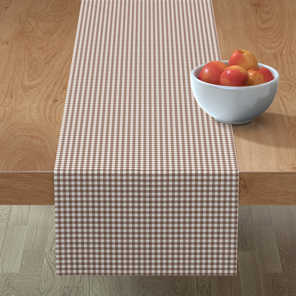 Minorca Table Runner featuring Woodland Gingham Bark by melissa_colson