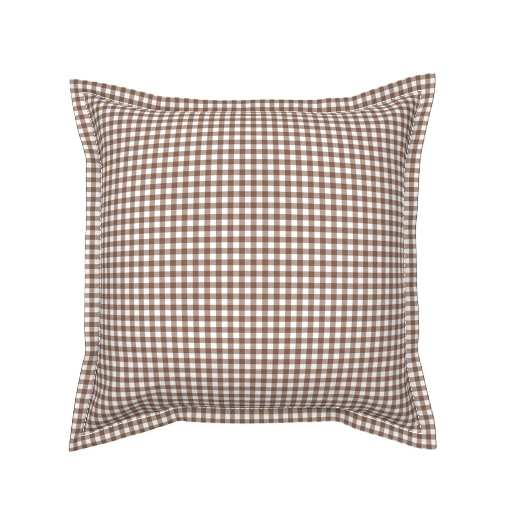 Serama Throw Pillow featuring Woodland Gingham Bark by melissa_colson