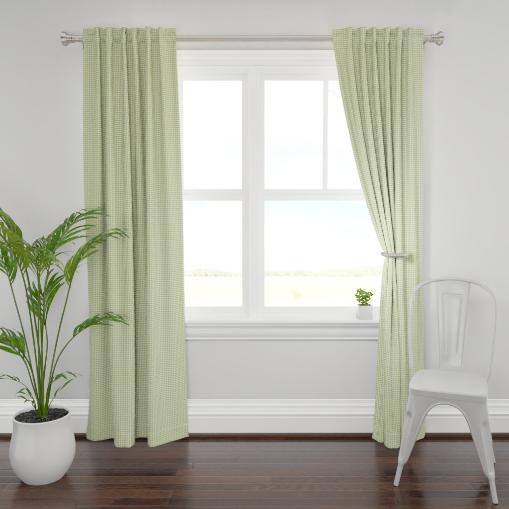 Plymouth Curtain Panel featuring Woodland Gingham Moss by melissa_colson