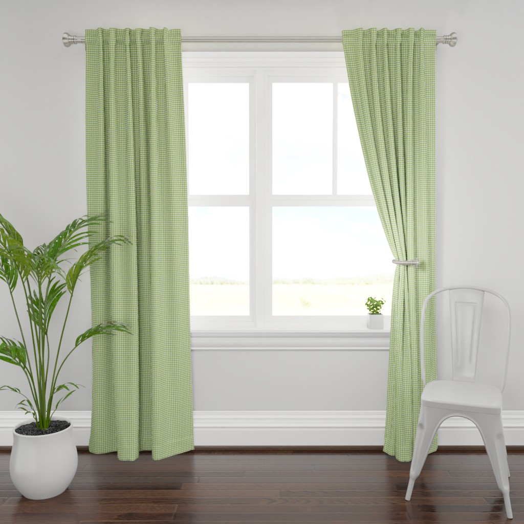 Plymouth Curtain Panel featuring Woodland Gingham Grass by melissa_colson