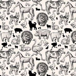 Farm animals hand-drawn outline inked sketches. vintage engraving style animals: cow, sheep, pig, horse, ostrich, guard dog, duck, rabbit, goose, turkey, lamb, pork with silhouettes.