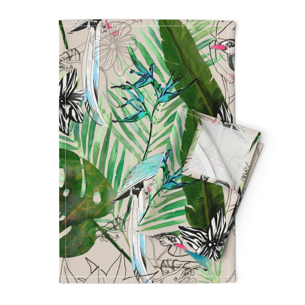 Orpington Tea Towels featuring emerald forest with birds by parryprint