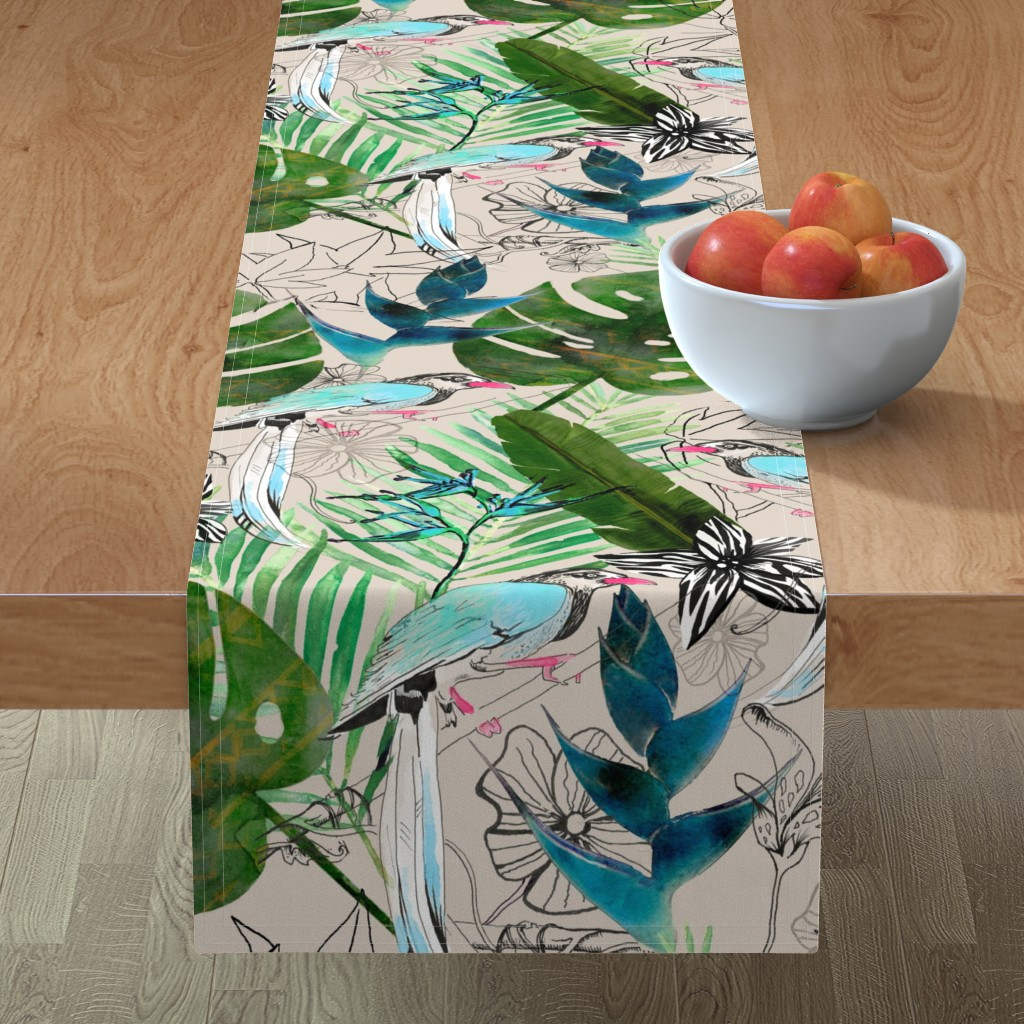 Minorca Table Runner featuring emerald forest with birds by parryprint