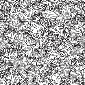 Doodles Outline Floral Abstract Waves in Black