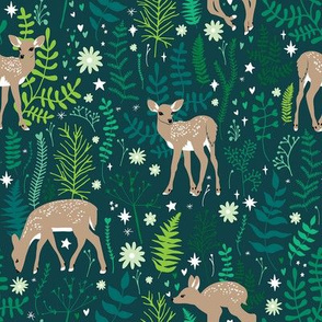 Deer in Emerald Forest Small