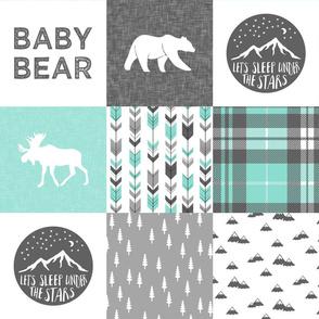 baby bear - woodland patchwork quilt top - light teal