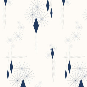 Nineteen Sixty Revisited: Navy and Cream MCM, Navy Geometric Pattern
