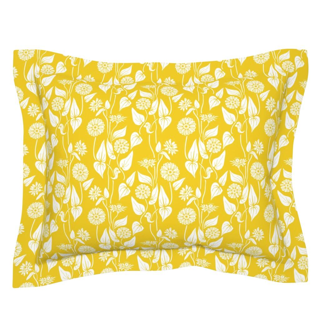 Sebright Pillow Sham featuring Zinnia Garden, Yellow  by katie_hayes