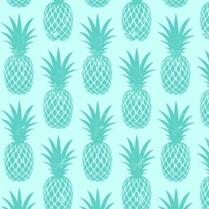 pineapples - teal on teal