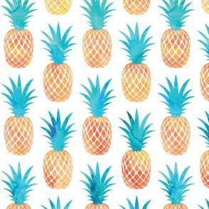 pineapples - orange and teal - watercolor