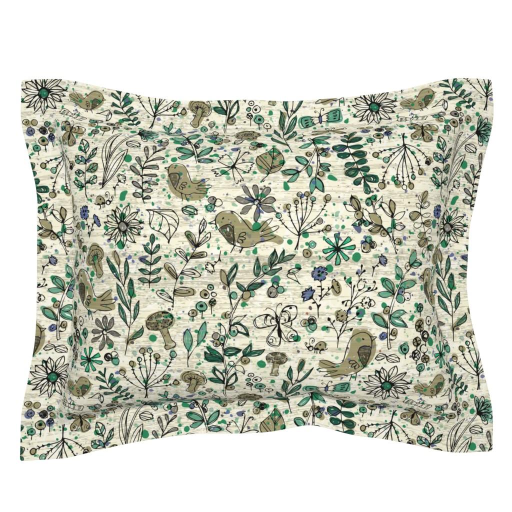 Sebright Pillow Sham featuring Emerald Forest Field Journal - Cream by sarah_treu