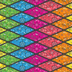 Rainbow Garden Diamond Cheater Quilt  (Rotated)