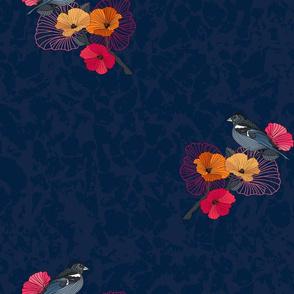 bird on a branch of sakura asia style on dark