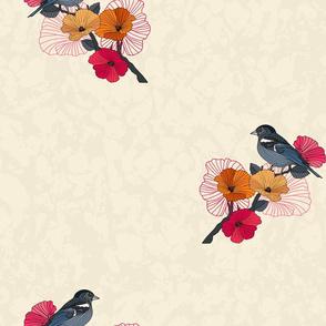 bird on a branch of sakura with texture