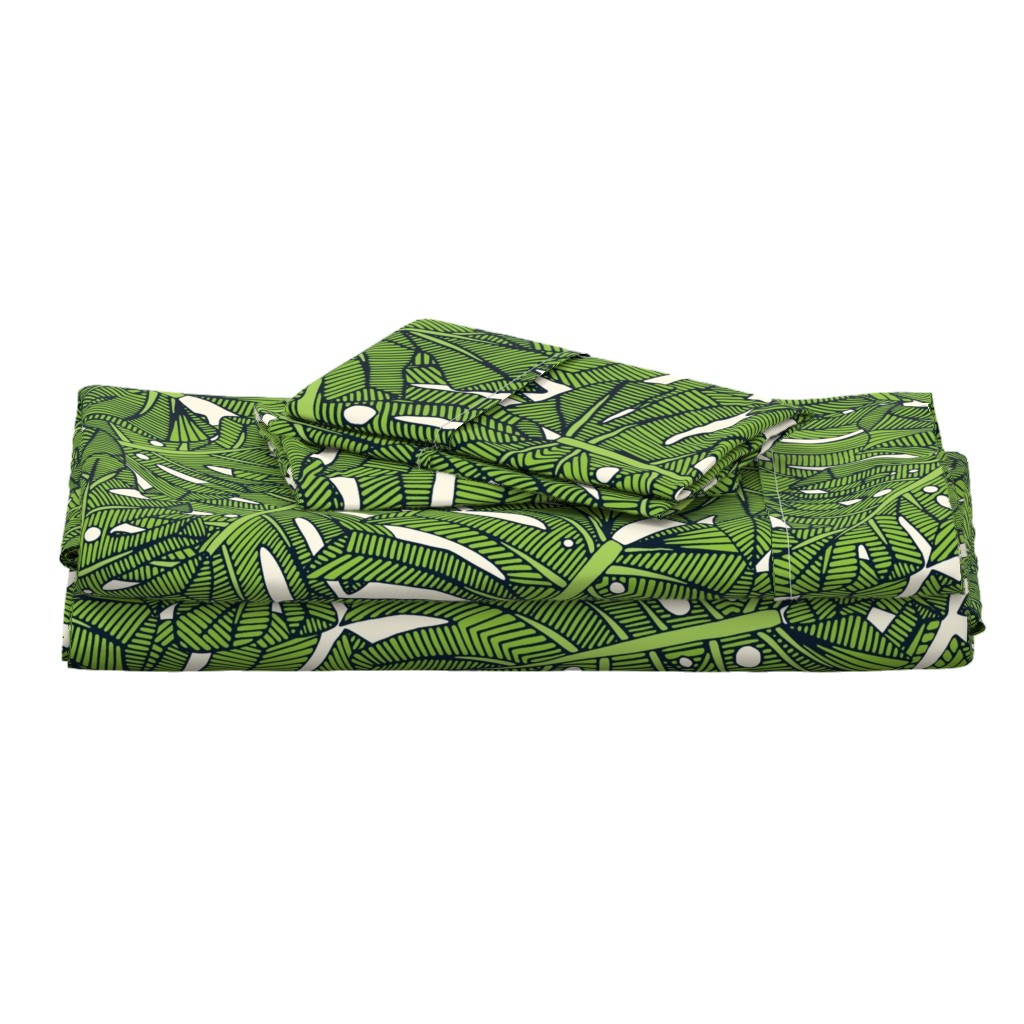 Langshan Full Bed Set featuring monstera leaves green pearl extra large by scrummy