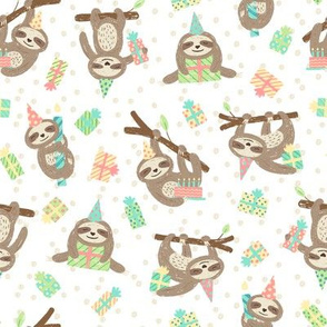 Slothful Birthday Wishes: Pastel on White