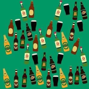 Alcohol Bottles Pattern on Green Background