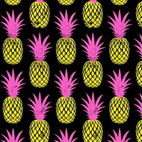 pineapples - pink and yellow on black