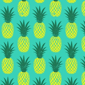 pineapples - yellow on teal
