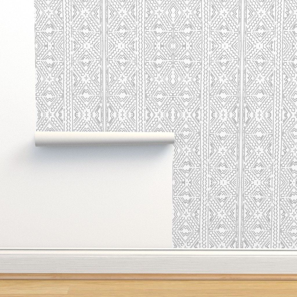 Isobar Durable Wallpaper featuring Medium grey mudcloth gray mudcloth mud cloth african mudcloth tribal-ch by jenlats