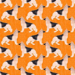 German Shepherd dog watercolor profile - orange