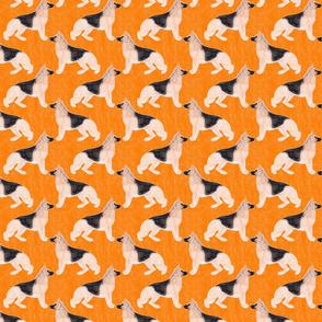 Small German Shepherd dog watercolor profile - orange