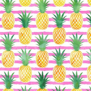 pineapples - watercolor on pink stripes