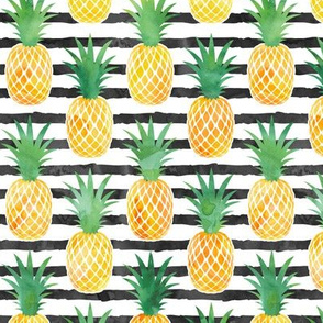 pineapples - watercolor on black stripes