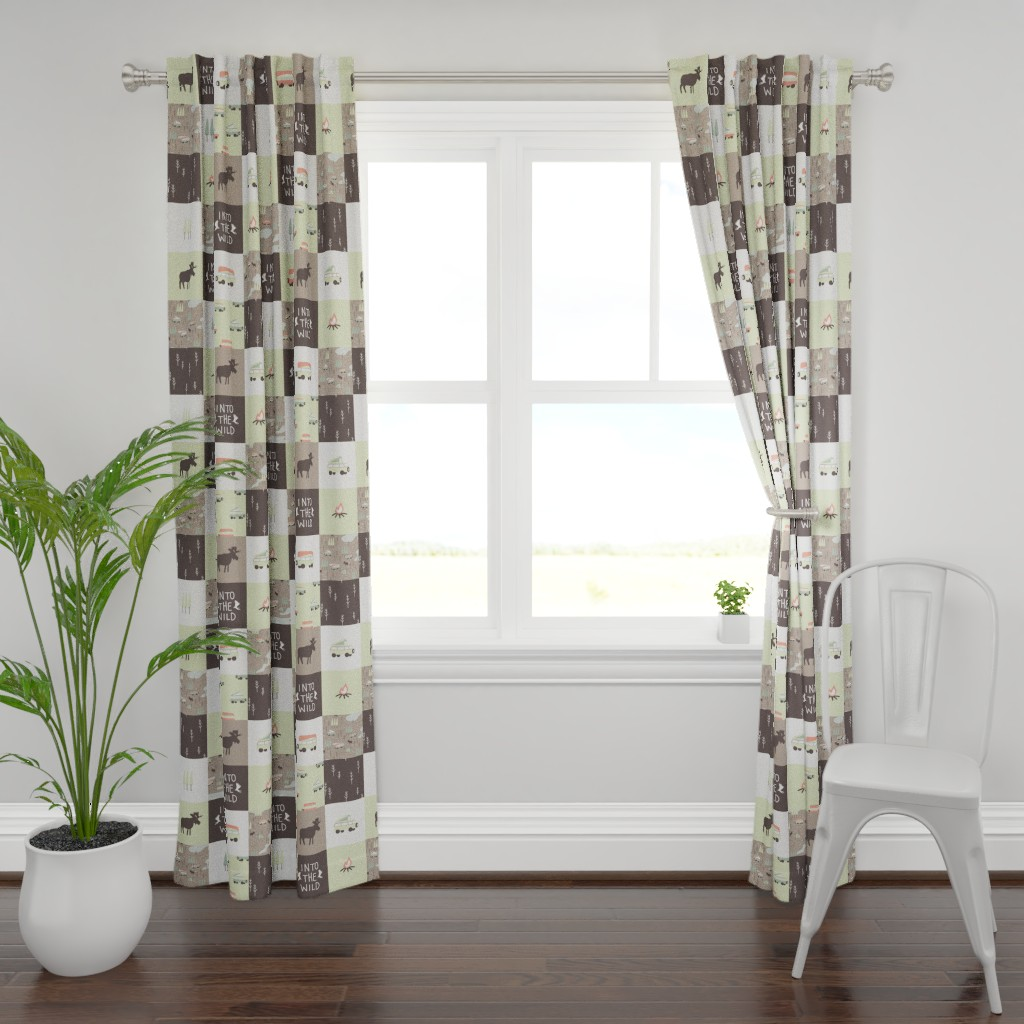 Plymouth Curtain Panel featuring Into the Wild - Cheater Quilt by papercanoefabricshop
