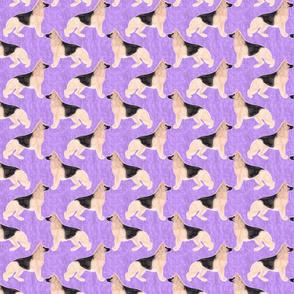 Small German Shepherd dog watercolor profile - purple