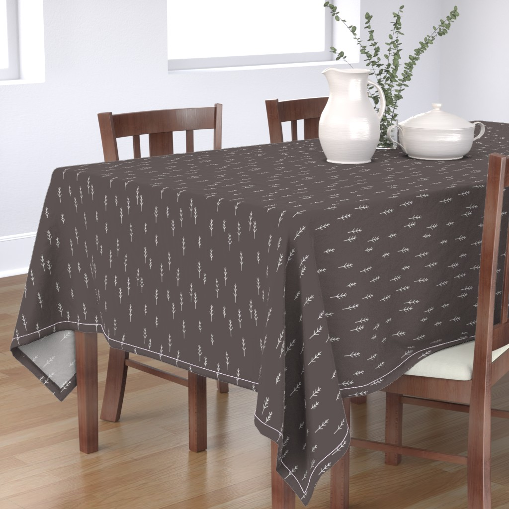 Bantam Rectangular Tablecloth featuring Forest - Black by papercanoefabricshop