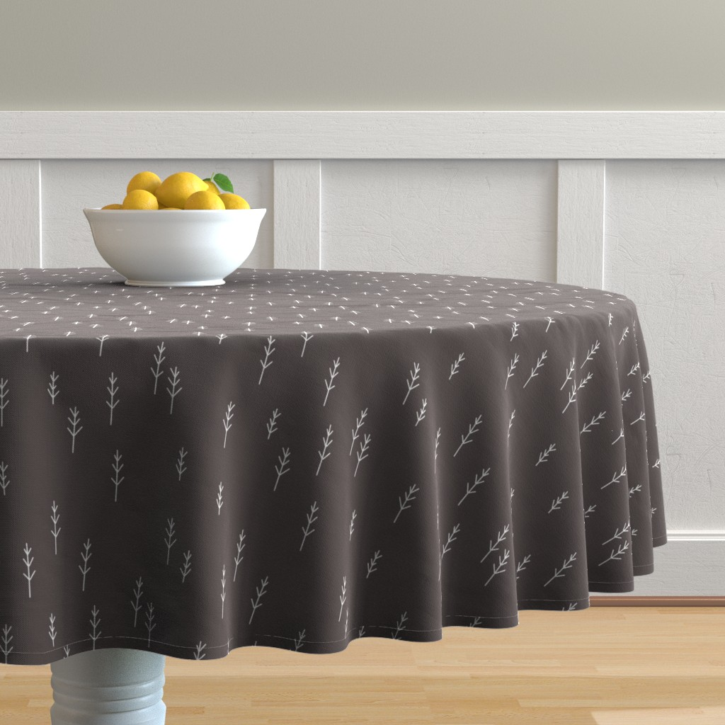 Malay Round Tablecloth featuring Forest - Black by papercanoefabricshop