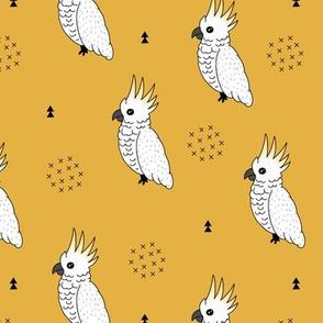 Sweet minimal style cockatoo birds illustration pattern mustard yellow