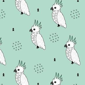 Sweet minimal style cockatoo birds illustration pattern soft mint green