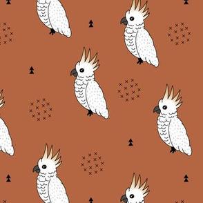 Sweet minimal style cockatoo birds illustration pattern copper