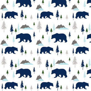 bears mountains forest mint blue