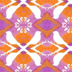 Lavender Orange with Bird Silhouettes