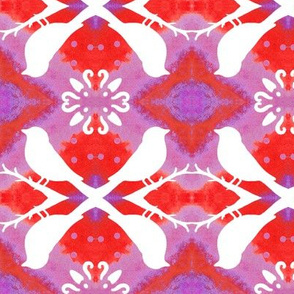 Persimmon and Lavender Birds